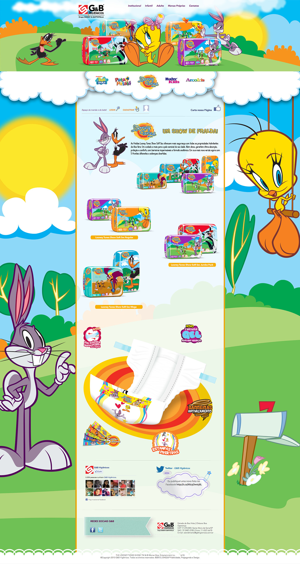 Mockup do site das Fraldas Looney Tunes